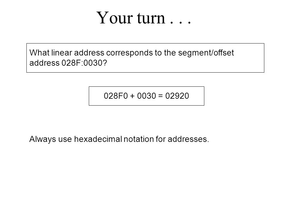 Your turn What linear address corresponds to the segment/offset address 028F: F =