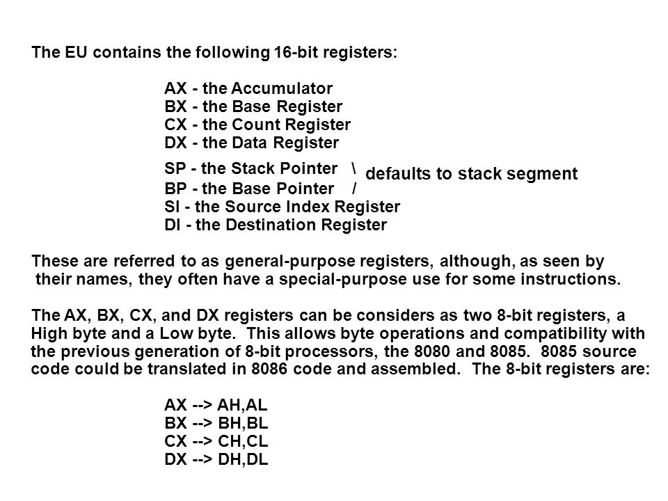 The EU contains the following 16-bit registers: