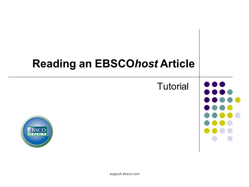 Reading an EBSCOhost Article