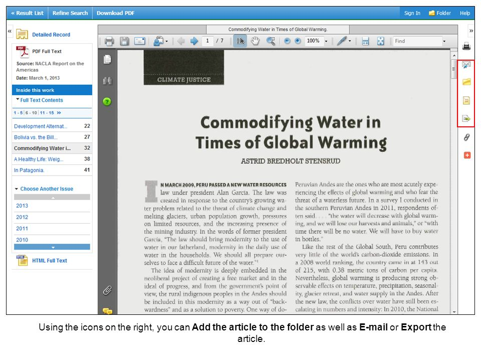 Using the icons on the right, you can Add the article to the folder as well as  or Export the article.