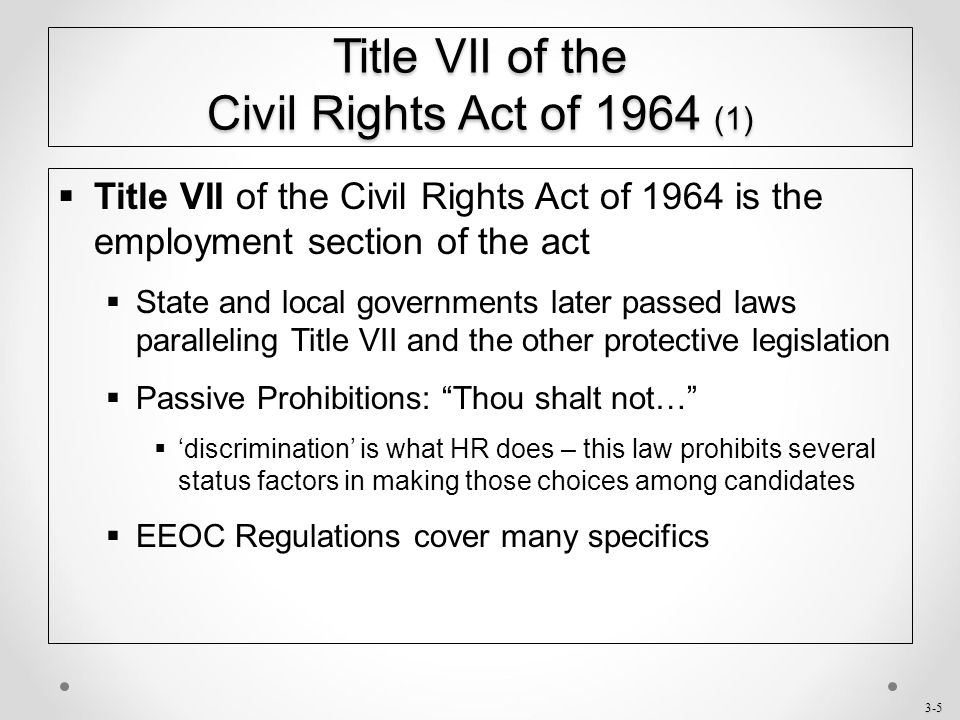 chapter 3 title vii of the civil rights act of ppt download