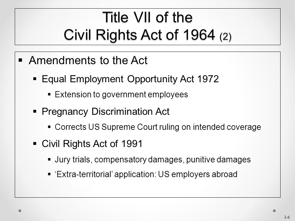 Title vii of the civil rights act 1991 sexual harassment
