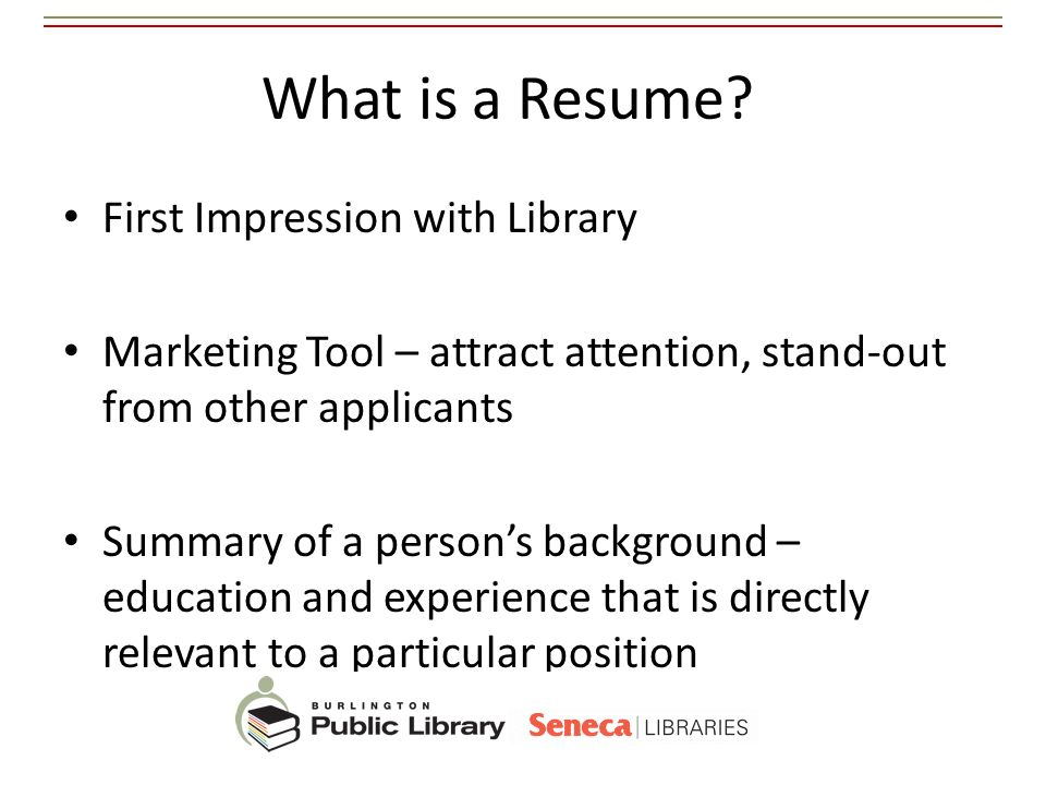 What is a Resume First Impression with Library