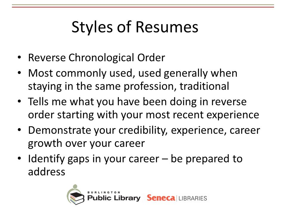 Styles of Resumes Reverse Chronological Order