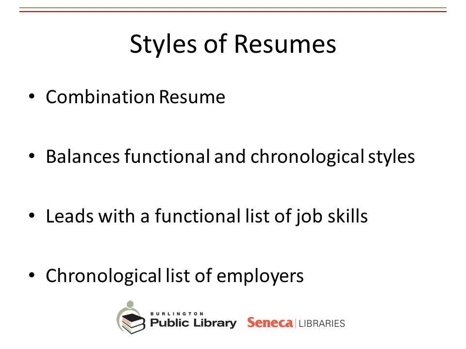 Styles of Resumes Combination Resume
