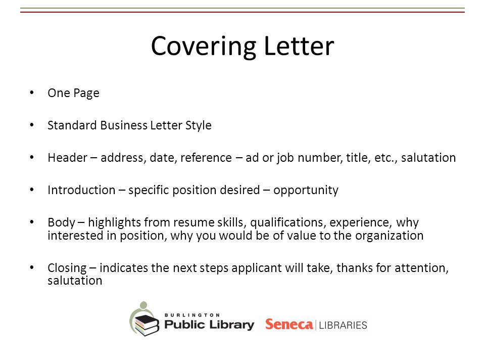 Covering Letter One Page Standard Business Letter Style