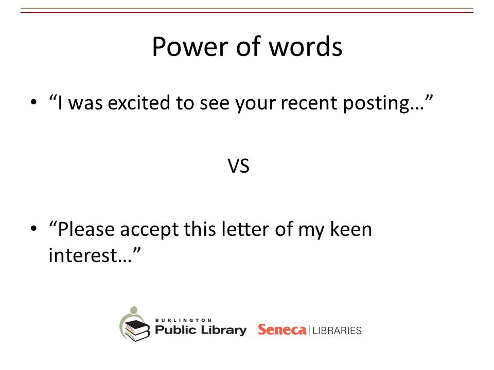 Power of words I was excited to see your recent posting… VS