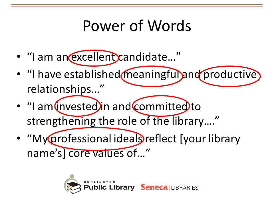 Power of Words I am an excellent candidate…