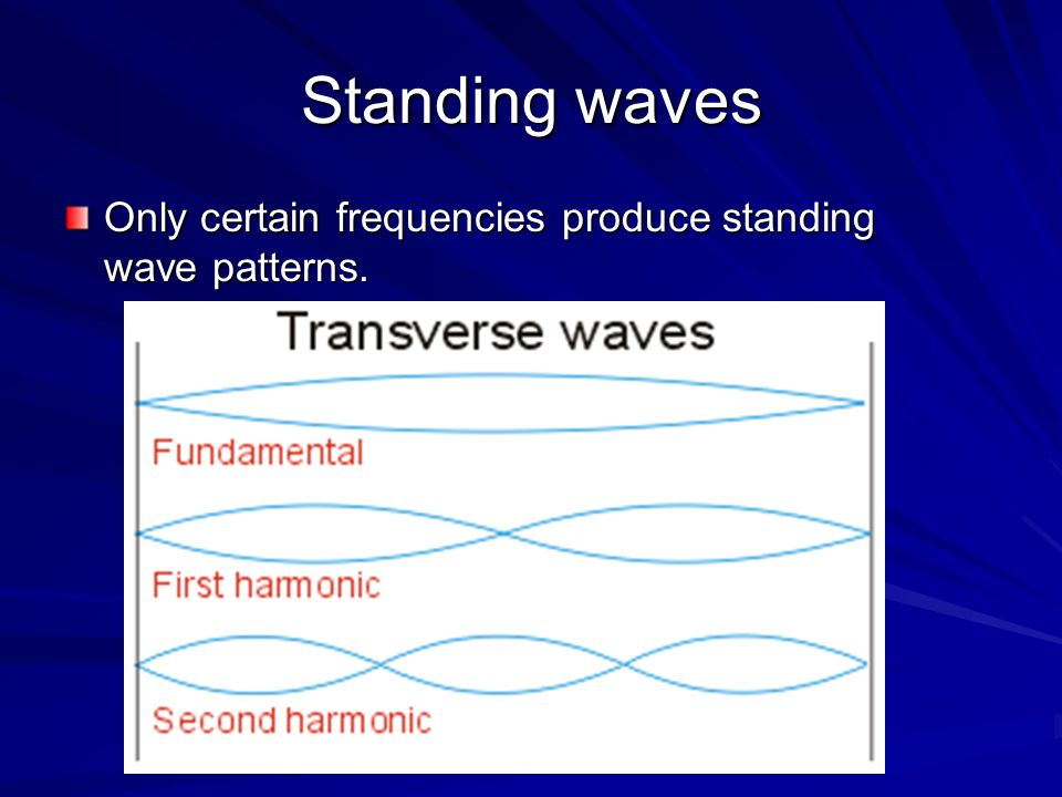 Standing waves Only certain frequencies produce standing wave patterns.