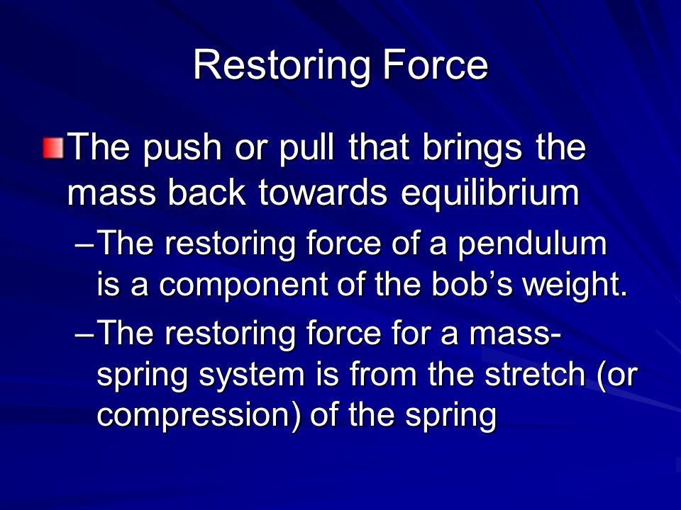 Restoring Force The push or pull that brings the mass back towards equilibrium.