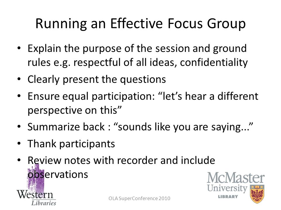 Running an Effective Focus Group