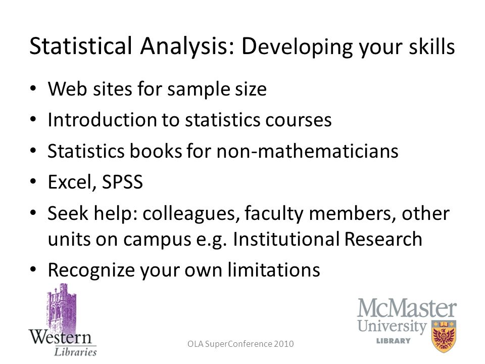 Statistical Analysis: Developing your skills