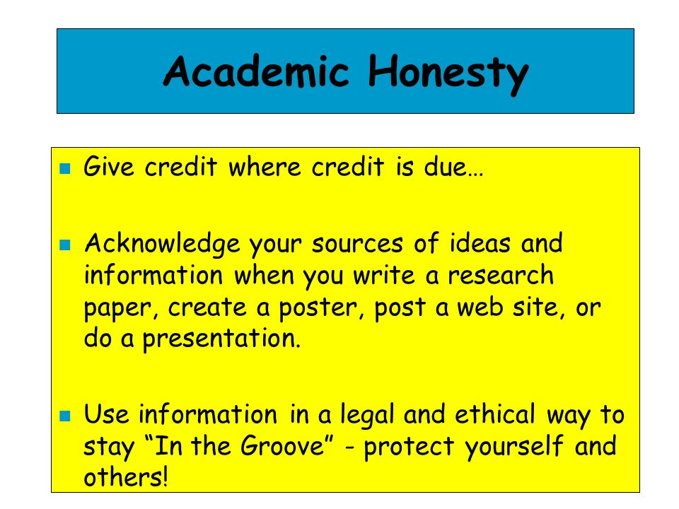 Academic Honesty Give credit where credit is due…