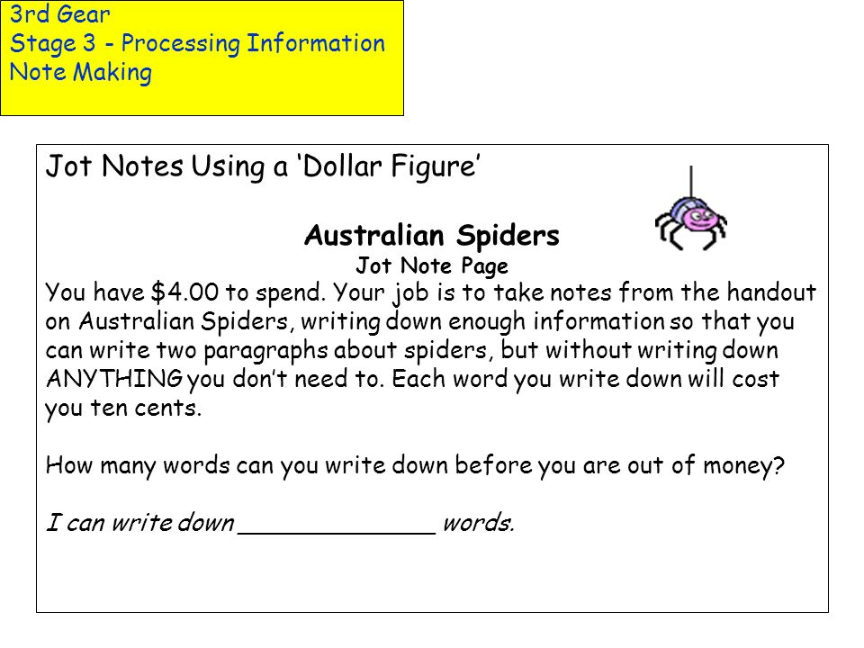 Jot Notes Using a 'Dollar Figure' Australian Spiders