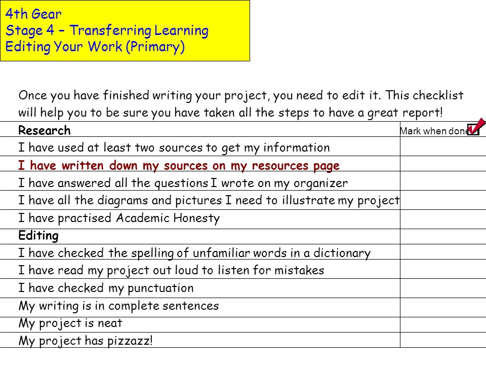 4th Gear Stage 4 – Transferring Learning Editing Your Work (Primary)
