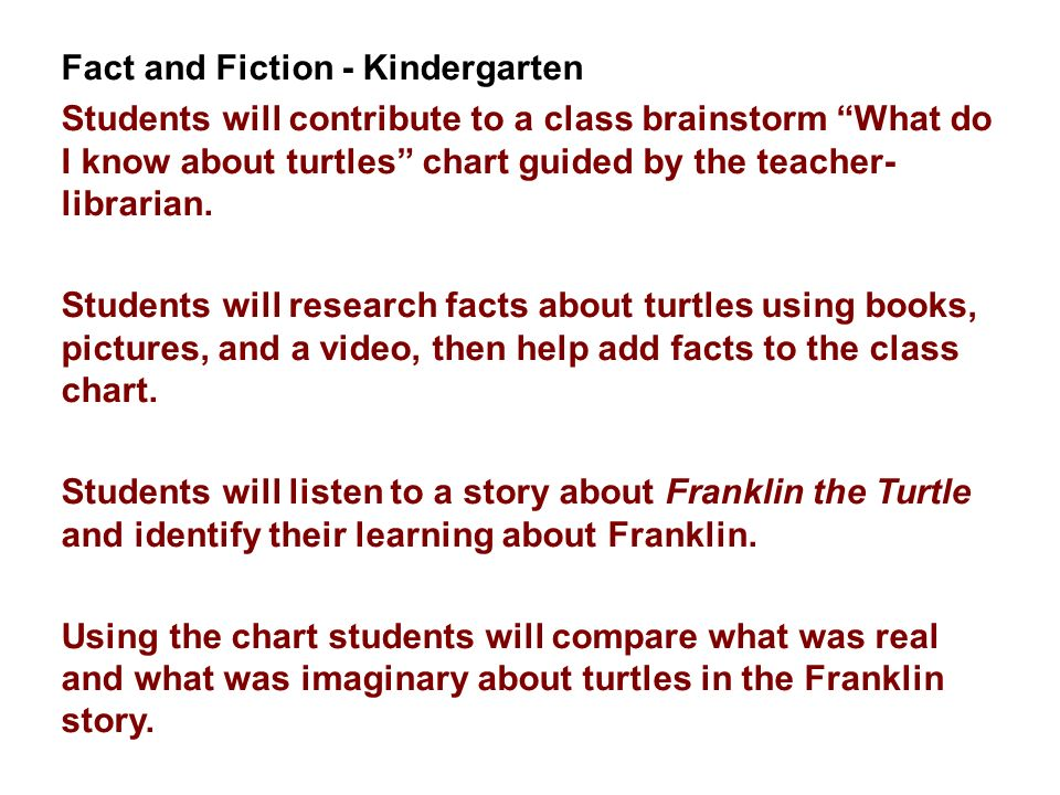 Fact and Fiction - Kindergarten