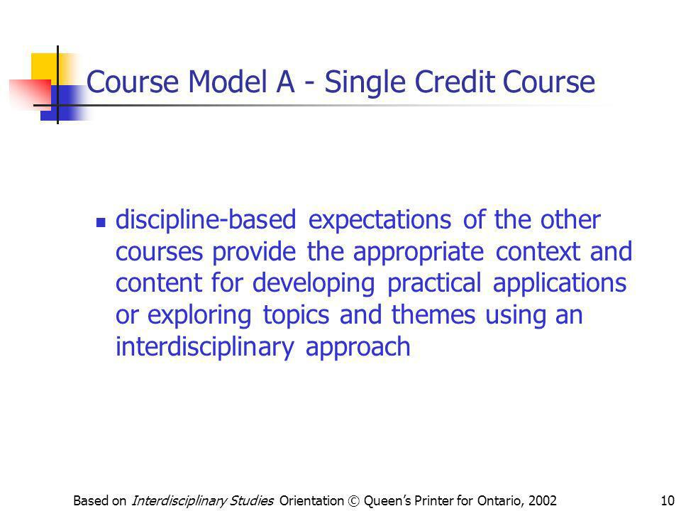 Course Model A - Single Credit Course