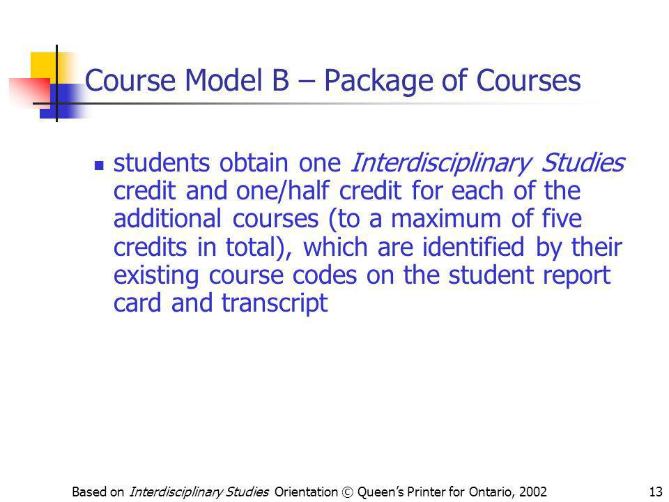 Course Model B – Package of Courses
