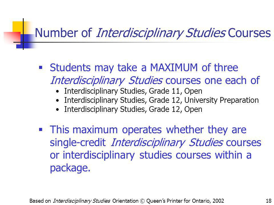 Number of Interdisciplinary Studies Courses