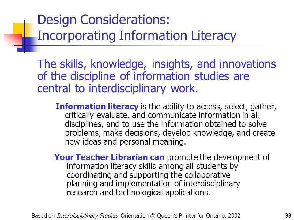 Design Considerations: Incorporating Information Literacy
