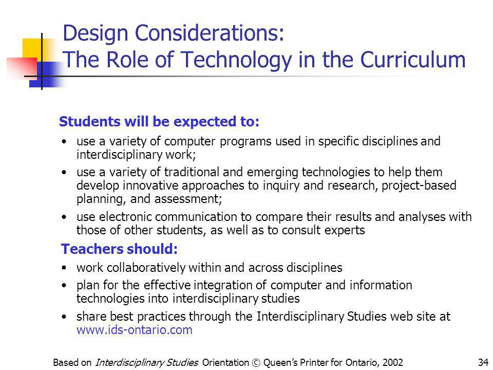 Design Considerations: The Role of Technology in the Curriculum