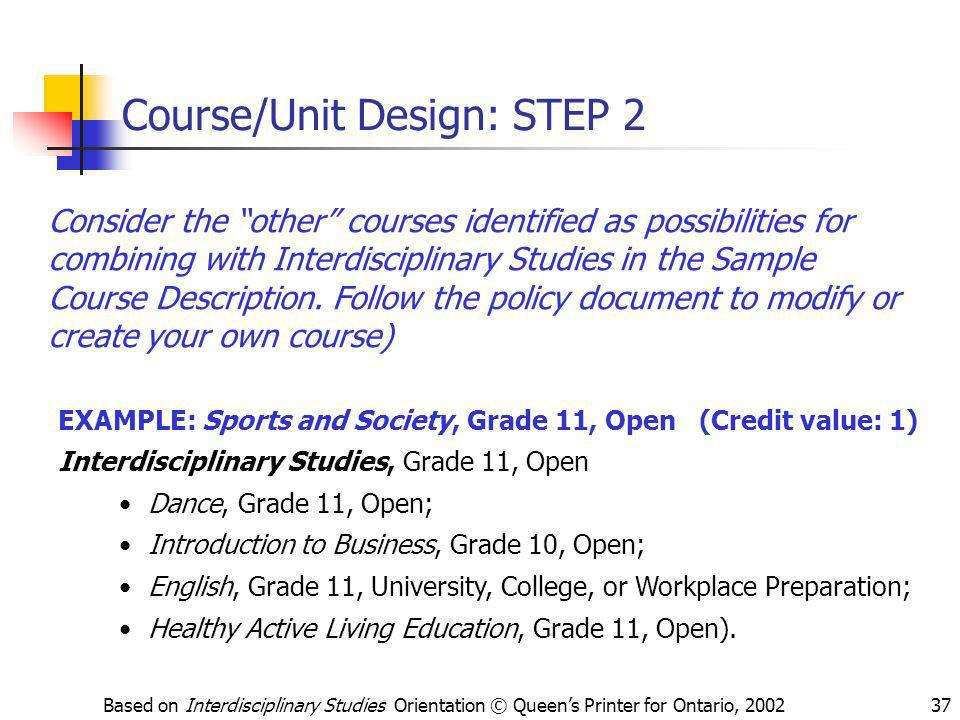 Course/Unit Design: STEP 2