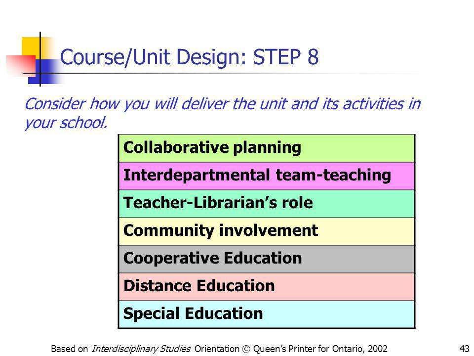 Course/Unit Design: STEP 8