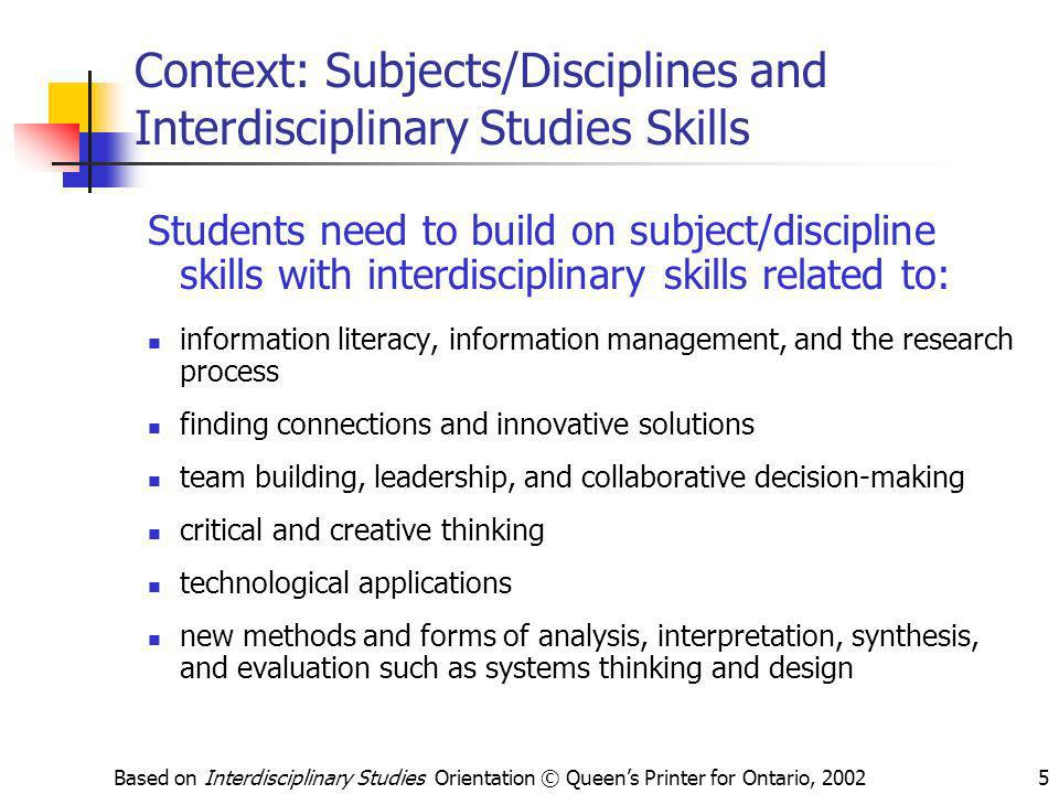 Context: Subjects/Disciplines and Interdisciplinary Studies Skills