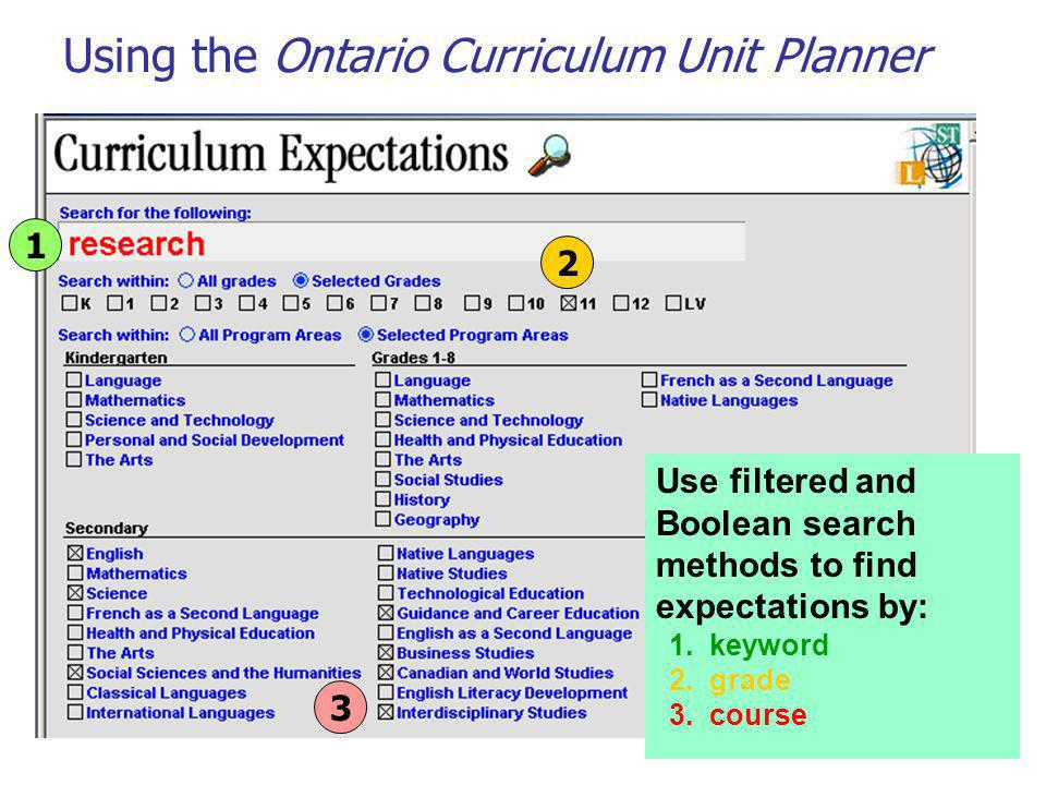 Using the Ontario Curriculum Unit Planner