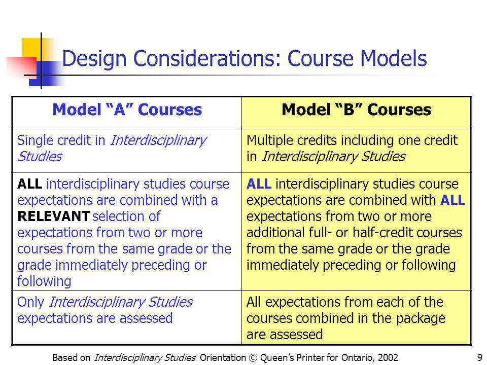 Design Considerations: Course Models