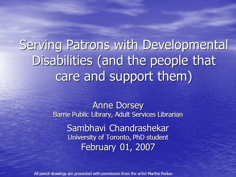 Serving Patrons with Developmental Disabilities (and the people that care and support them)