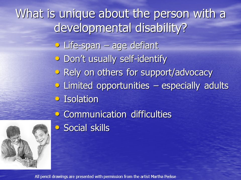 What is unique about the person with a developmental disability