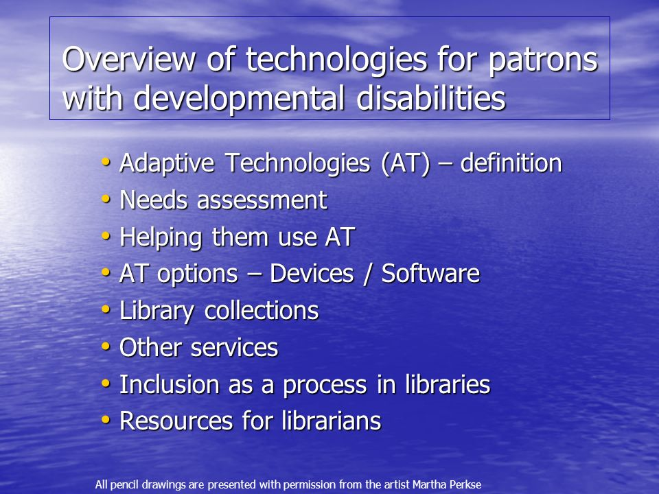 Overview of technologies for patrons with developmental disabilities