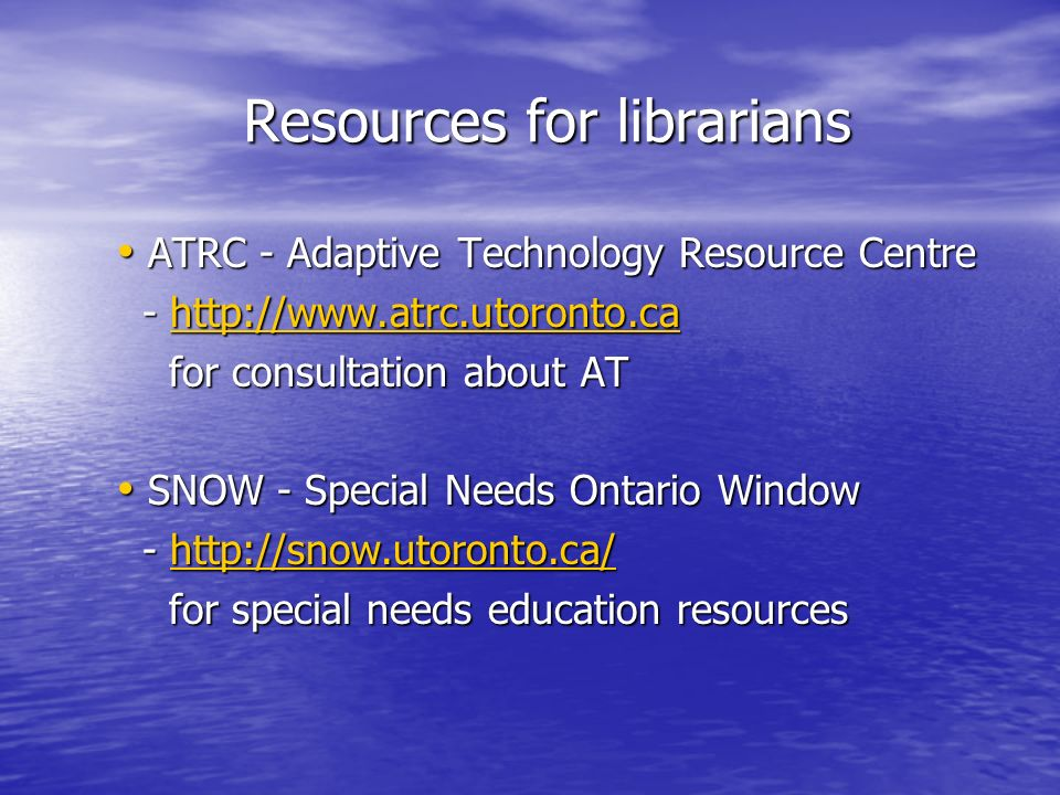 Resources for librarians