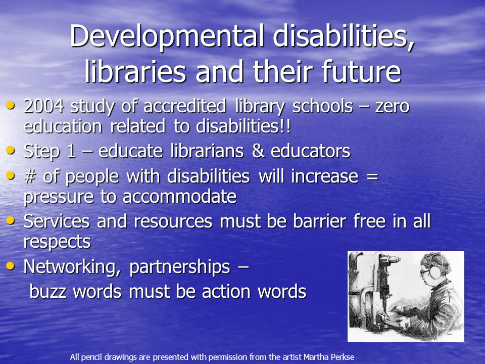 Developmental disabilities, libraries and their future