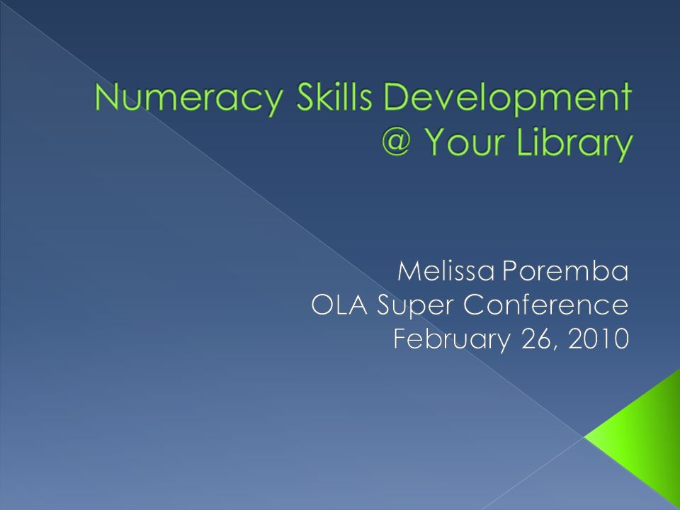 Numeracy Skills Development @ Your Library