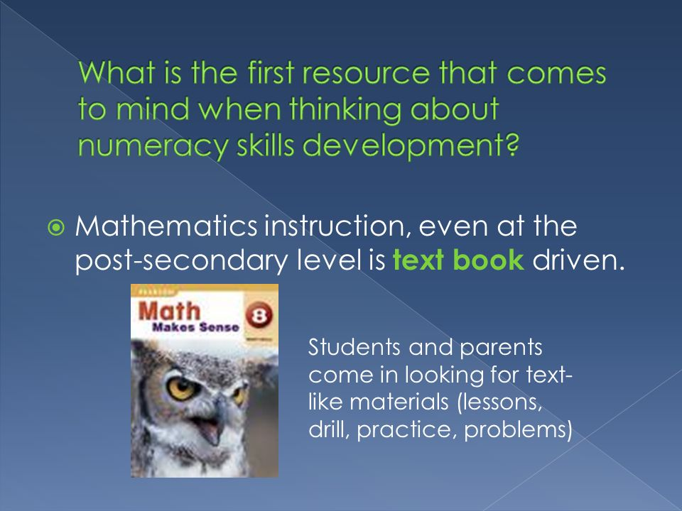 What is the first resource that comes to mind when thinking about numeracy skills development