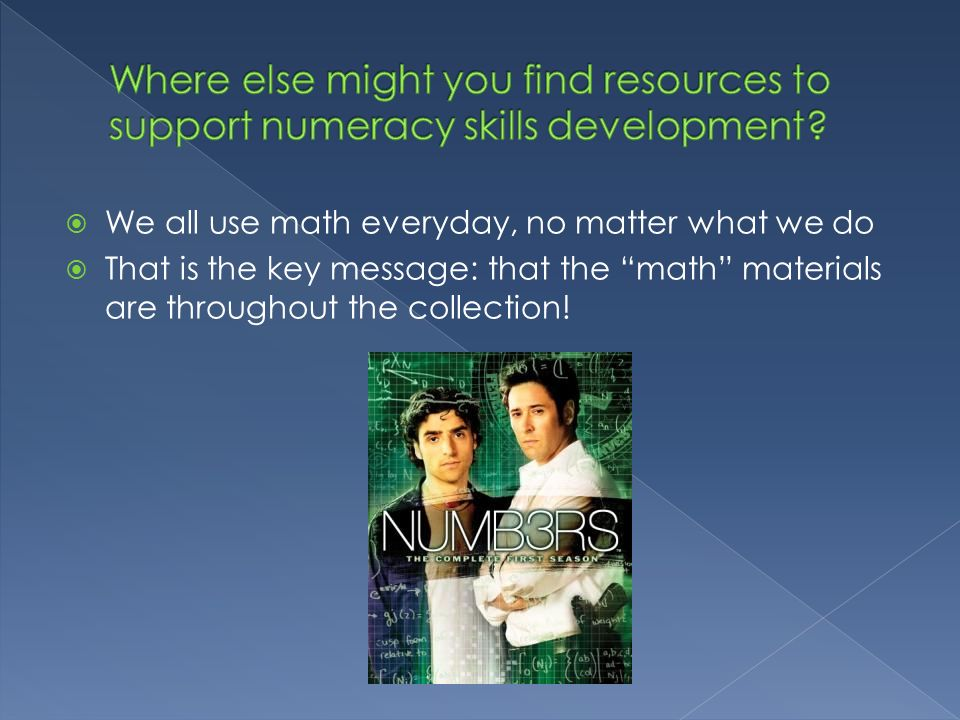 Where else might you find resources to support numeracy skills development