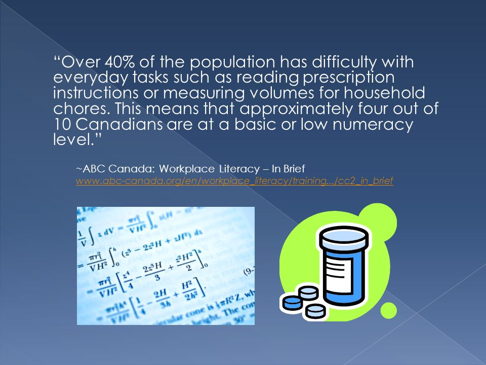Over 40% of the population has difficulty with everyday tasks such as reading prescription instructions or measuring volumes for household chores. This means that approximately four out of 10 Canadians are at a basic or low numeracy level.