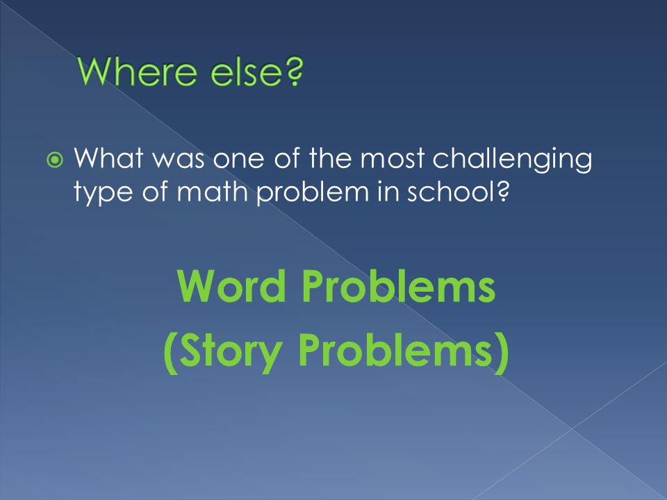 Word Problems (Story Problems)