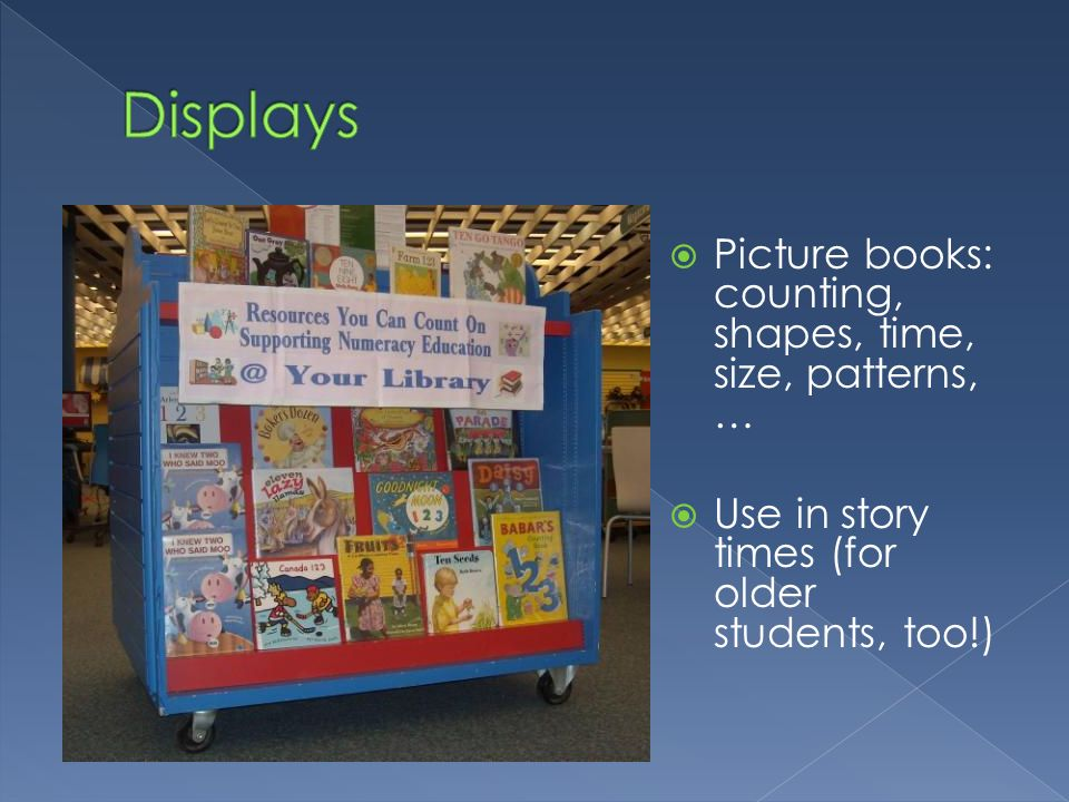 Displays Picture books: counting, shapes, time, size, patterns, …