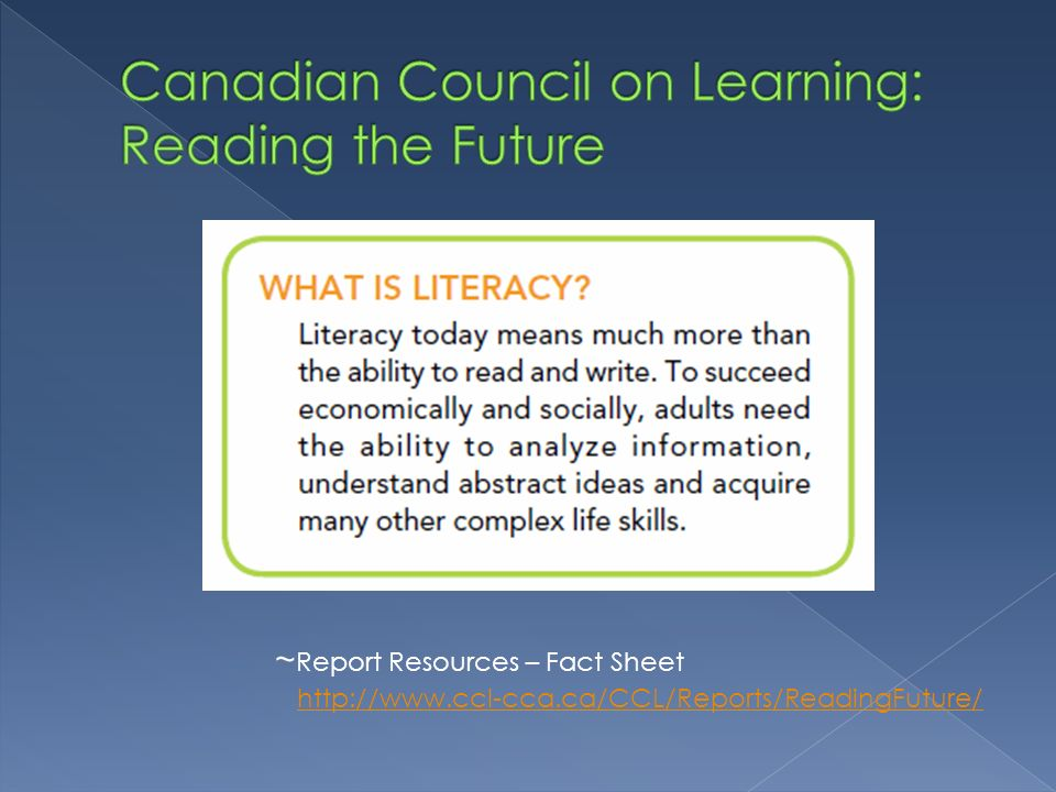 Canadian Council on Learning: Reading the Future