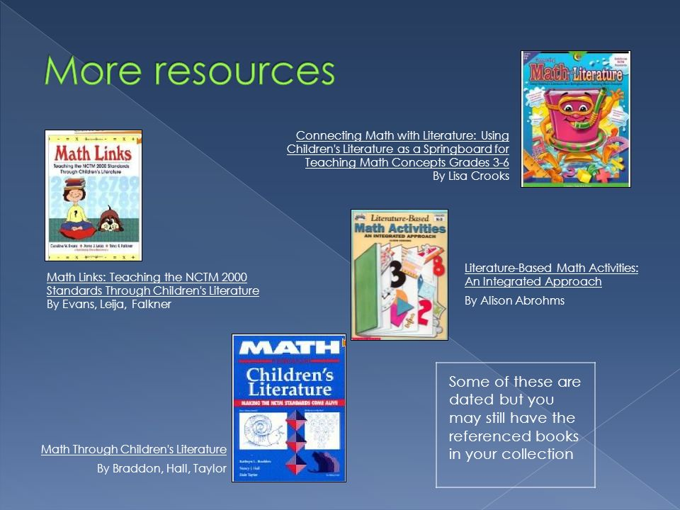 More resources Connecting Math with Literature: Using Children s Literature as a Springboard for Teaching Math Concepts Grades 3-6.