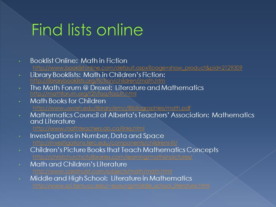 Find lists online Booklist Online: Math in Fiction