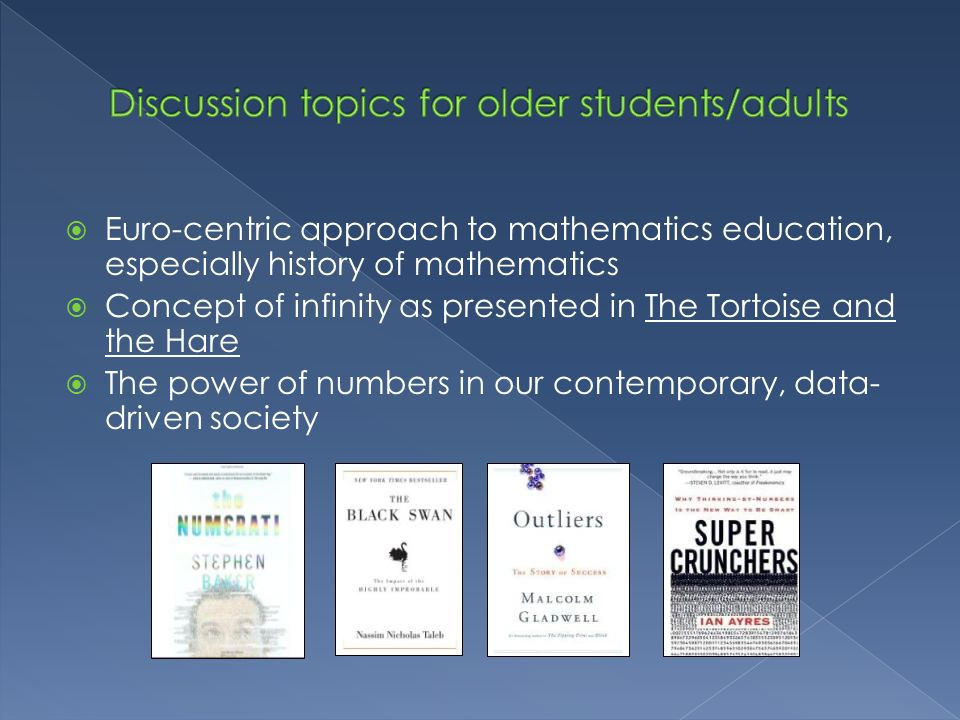 Discussion topics for older students/adults