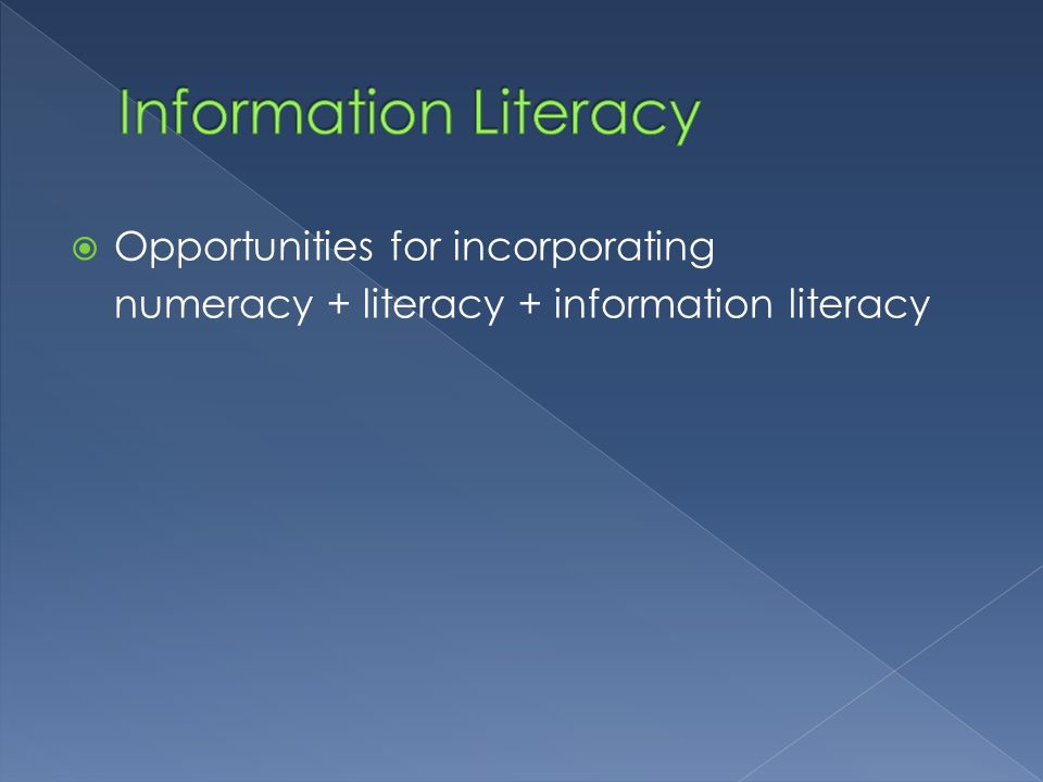 Information Literacy Opportunities for incorporating