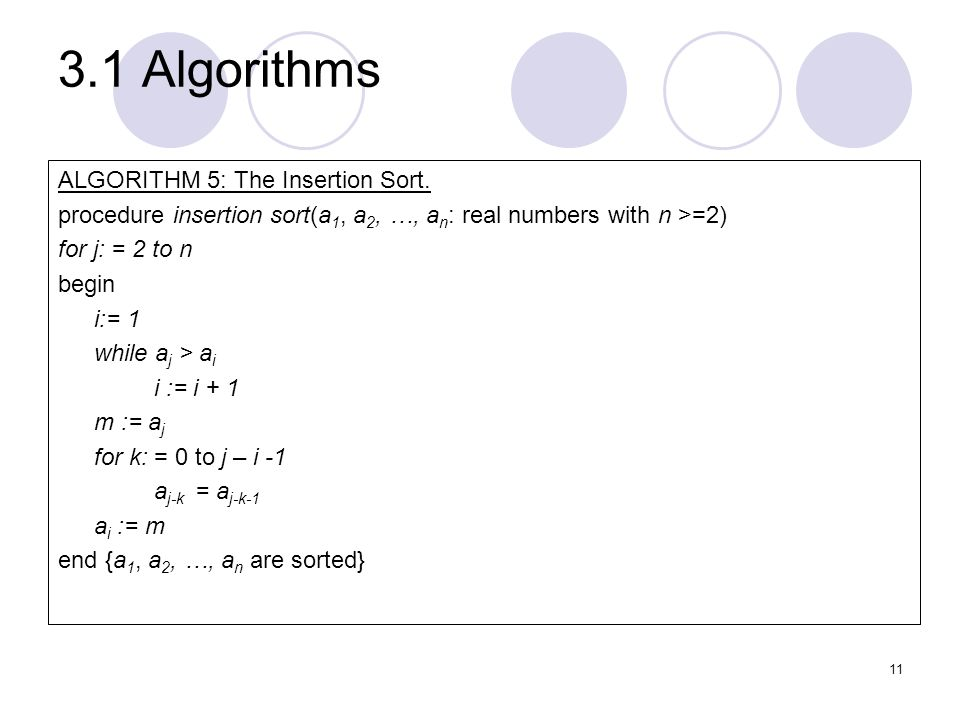 3.1 Algorithms ALGORITHM 5: The Insertion Sort.