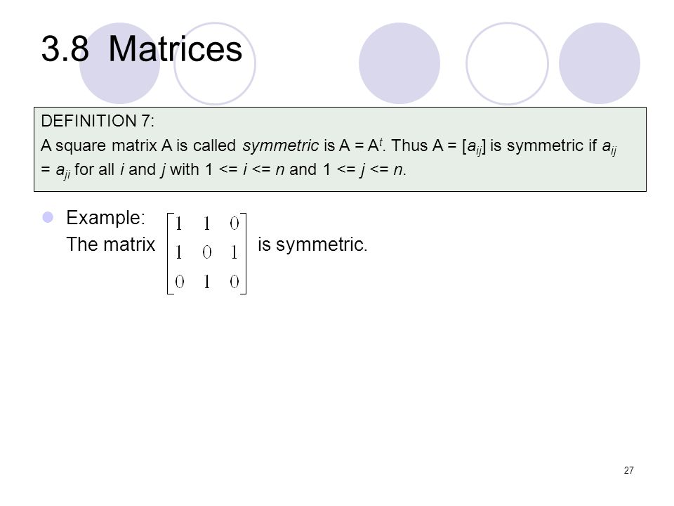 3.8 Matrices Example: The matrix is symmetric. DEFINITION 7: