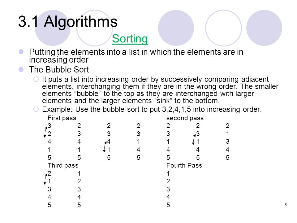 3.1 Algorithms Sorting. Putting the elements into a list in which the elements are in increasing order.
