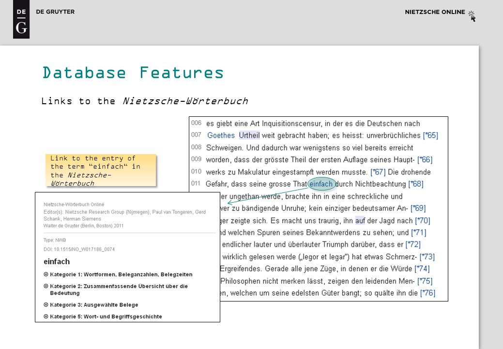 Database Features Links to the Nietzsche-Wörterbuch